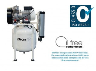 2.5HP 50L Oil-Free Dental Air Compressor Clean Air Class Zero Certified